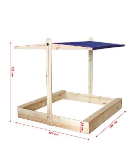 sandkasten sandkiste p 07 120x120 cm holz mit dach hdf. Black Bedroom Furniture Sets. Home Design Ideas