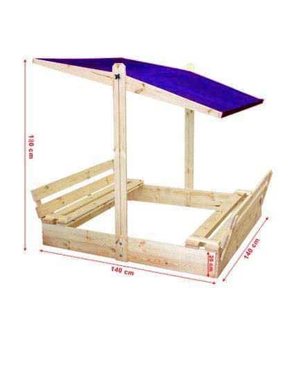 sandkasten sandkiste p 10 140x140 x 180 cm mit dach verstellbar holz sandkaste ebay. Black Bedroom Furniture Sets. Home Design Ideas