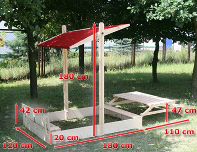 sandkasten sandkiste p 14 120x290x180 cm holz mit dach tisch und abdeckung. Black Bedroom Furniture Sets. Home Design Ideas