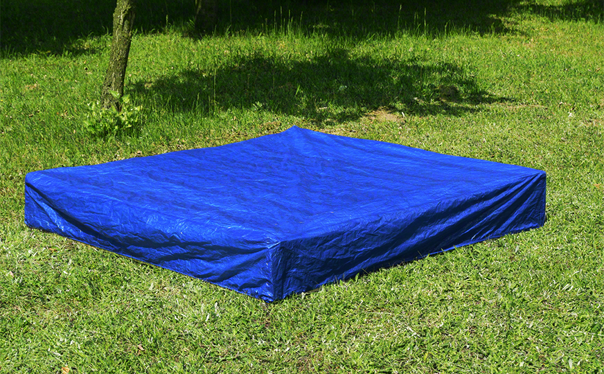 planen blau f r sandkasten sandkastenabdeckung abdeckplane 120x120 140x140 plane ebay. Black Bedroom Furniture Sets. Home Design Ideas