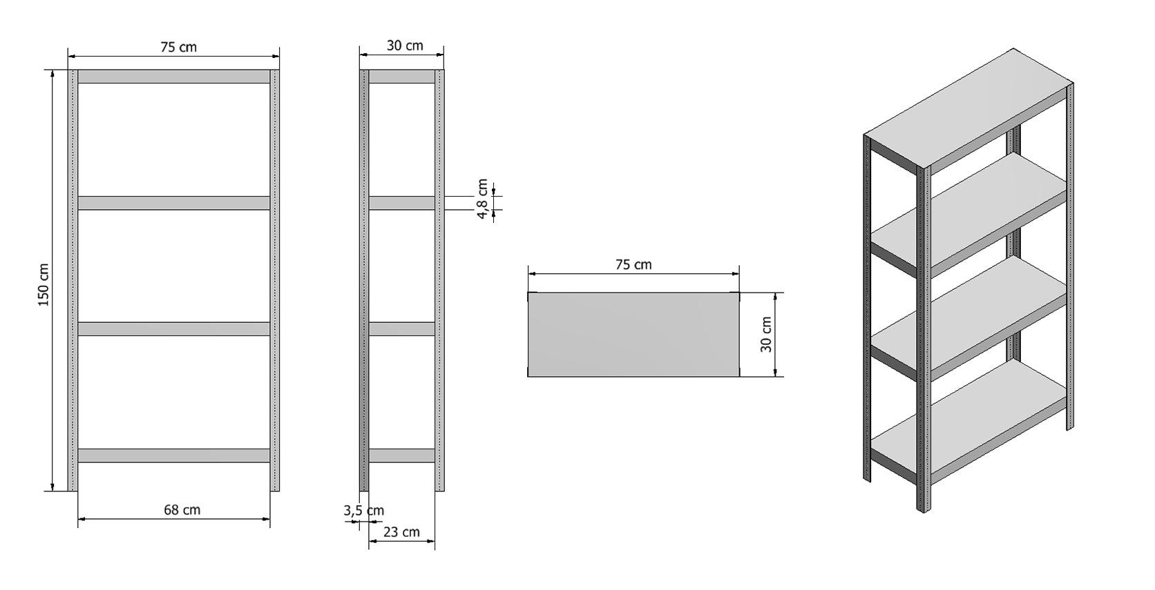 metallregal werkstatt keller regal ganz aus metall wei metis 75x30 cm 2 h hen. Black Bedroom Furniture Sets. Home Design Ideas