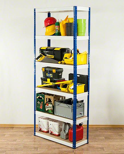 metallregal werkstatt schwerlastregal blau weiss bis 400kg je boden hnw 213 cm ebay. Black Bedroom Furniture Sets. Home Design Ideas